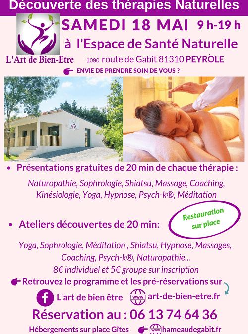 Découverte des Thérapies Naturelles samedi 18 mai 2019 entre Albi et Toulouse